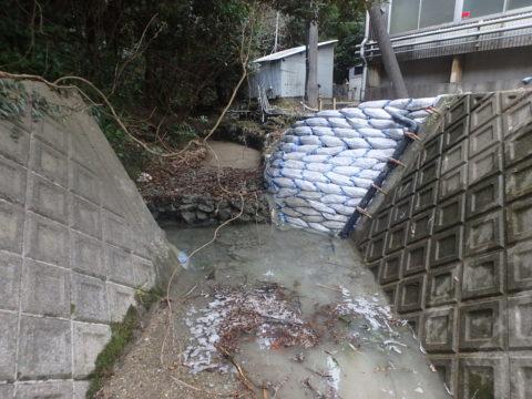 台風21号による箕曲瀬川護岸災害復旧工事